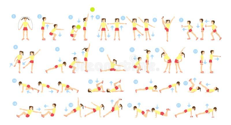 儿童锻炼集合 向量例证
