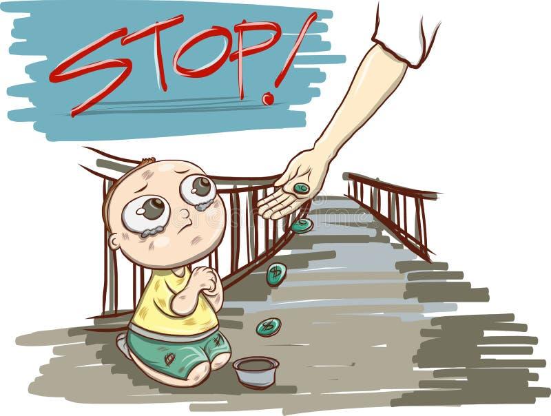 儿童贫穷,儿童叫化子传染媒介 库存例证