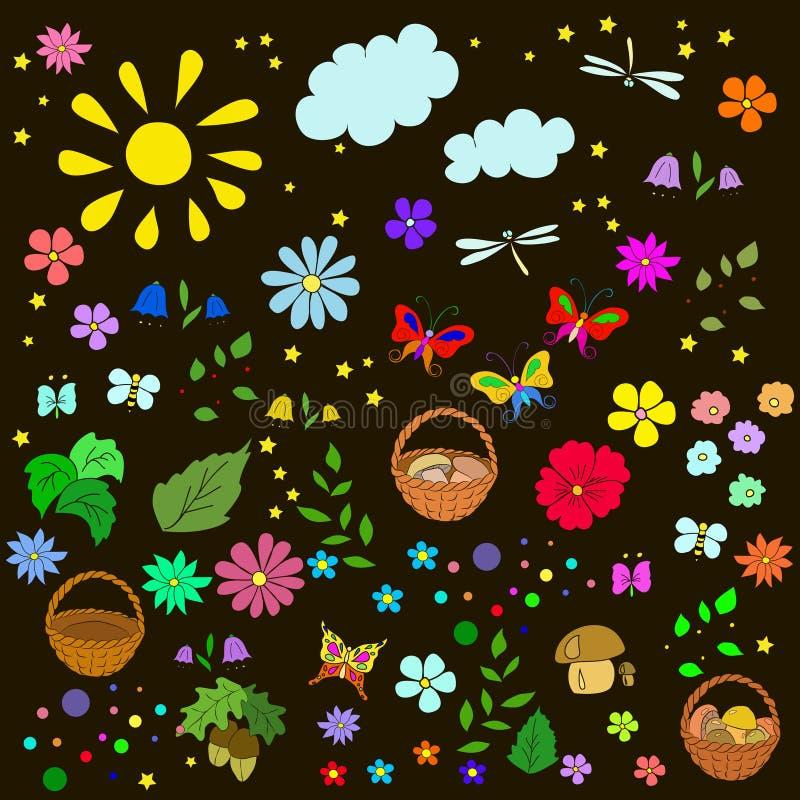 儿童` s与花,叶子的夏天样式, 皇族释放例证