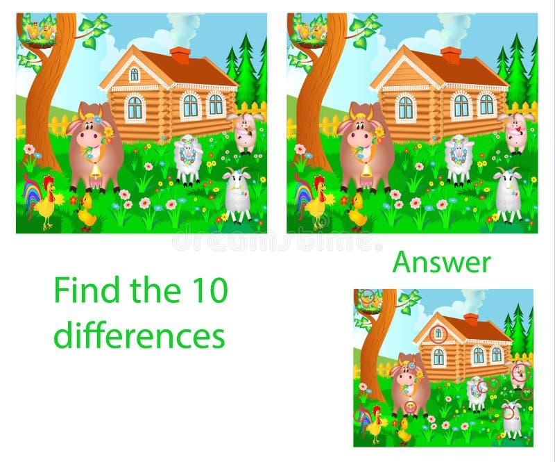 儿童` s例证视觉难题:发现十区别从 皇族释放例证