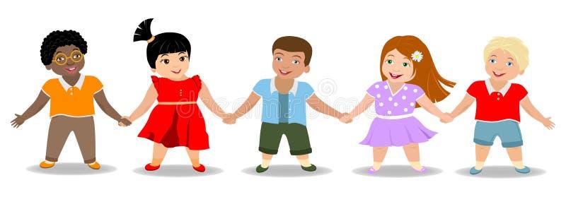 儿童` s友谊、男孩和女孩 皇族释放例证