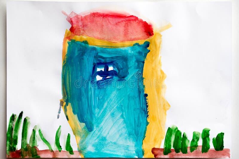 儿童` s图画和颜色铅笔顶视图 皇族释放例证