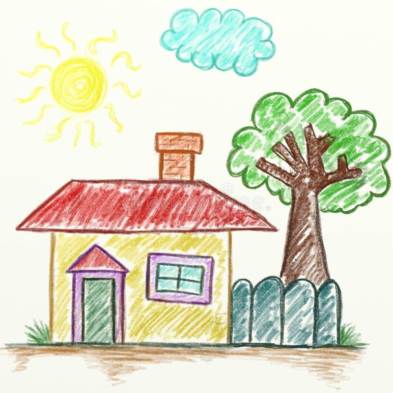 儿童` s手拉图画的房子 库存例证