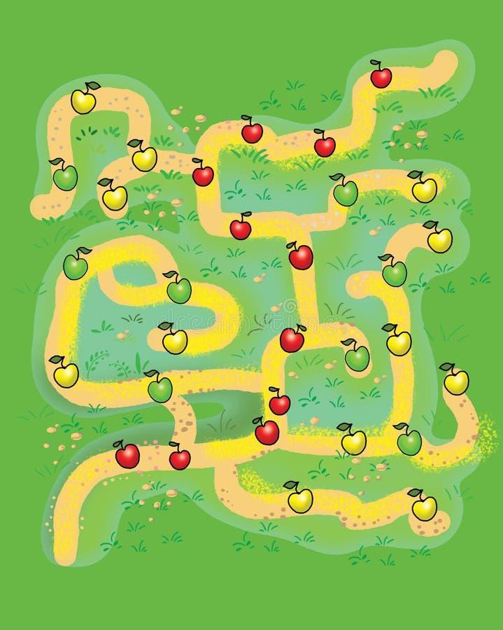 儿童` s比赛的美丽的迷宫 向量例证