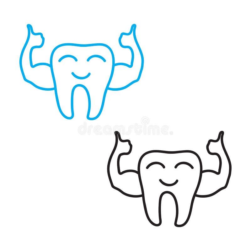儿童` s牙科标志的强的健康牙手图画概念 查出的向量例证 库存例证