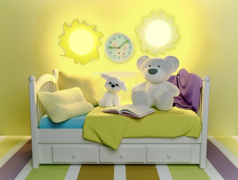 儿童` s玩具和书,位于床 库存例证