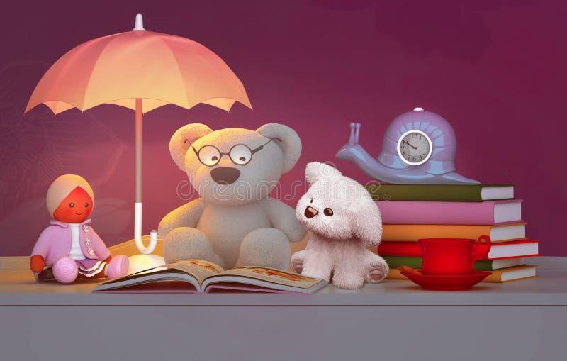 儿童` s玩具,书,时钟,灯位于桌 库存例证