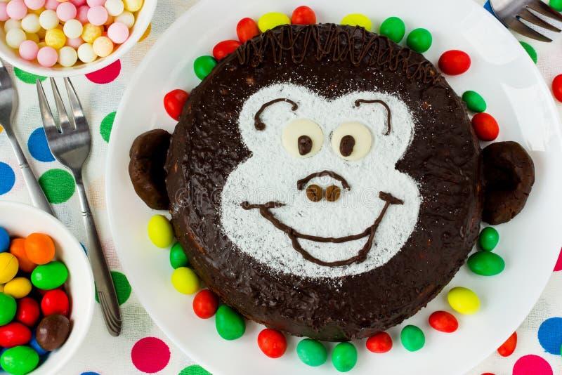 儿童` s生日聚会的原始的蛋糕 库存照片
