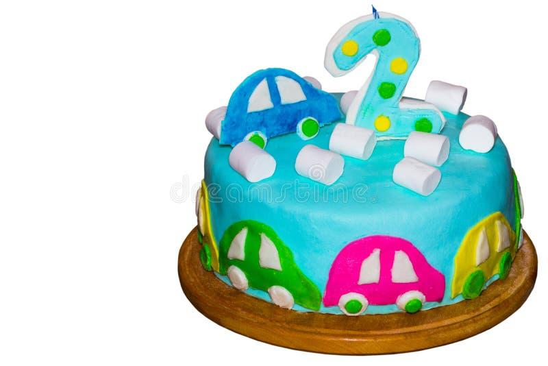 儿童` s生日蛋糕 背景查出的白色 免版税图库摄影