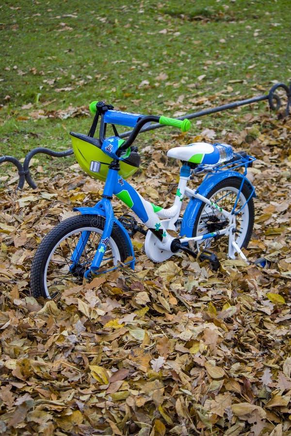 儿童` s自行车在公园 免版税库存图片