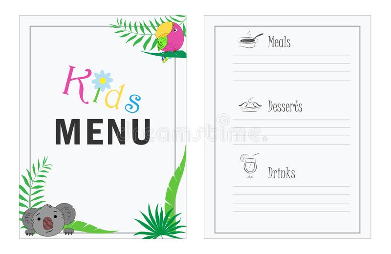 儿童` s菜单模板 咖啡馆孩子的菜单设计 孩子的菜单有棕榈叶koalla和鹦鹉的 皇族释放例证