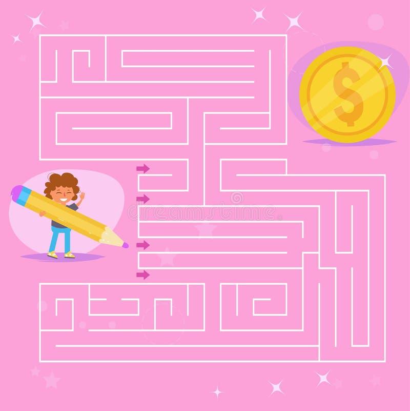 儿童` s迷宫 比赛 硬币, 向量例证
