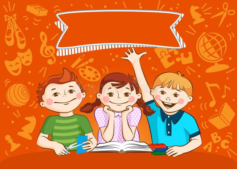 儿童` s活动 男孩和女孩允诺了他们的爱好 皇族释放例证