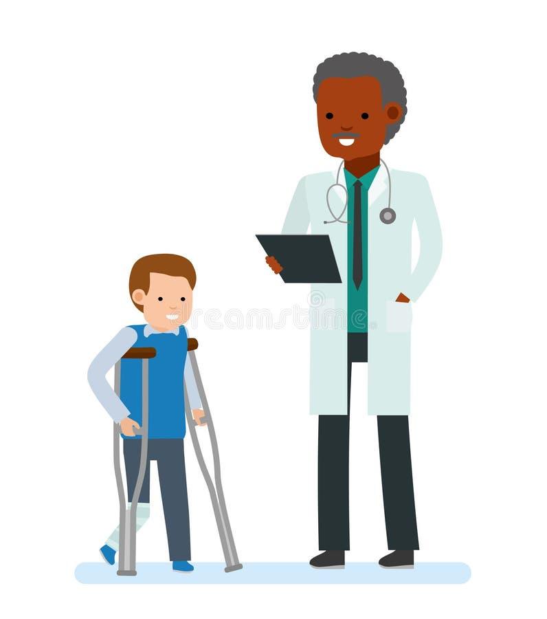 儿童` s医生 有一条涂灰泥的腿和拐杖的男孩在医生旁边 背景例证老羊皮纸滚动白色 向量例证
