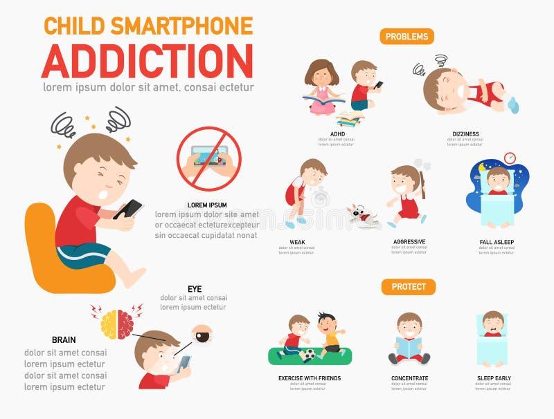 儿童infographic智能手机的瘾 库存例证