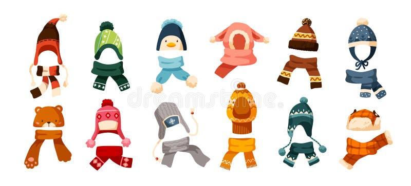 儿童s冬天编织在白色背景隔绝的各种各样的类型帽子和围巾的汇集  捆绑头饰 皇族释放例证