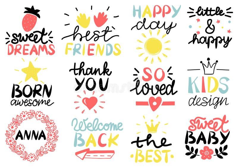 12儿童s商标与手写愉快的天 作甜点 最好的朋友 出生令人敬畏 查出的看板卡礼品感谢白色您 很爱 孩子 库存例证