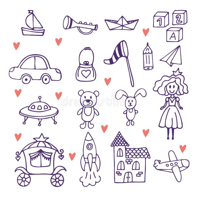 儿童s玩具 套手拉的乱画玩具 库存例证