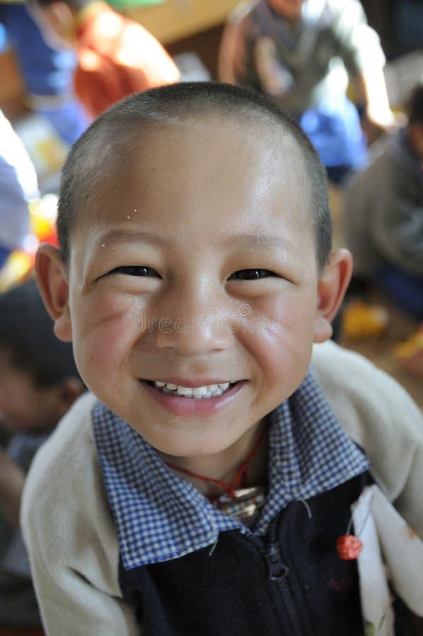 儿童s西藏人村庄 库存图片