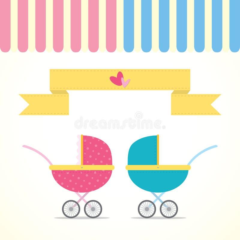 婴儿车男孩和女孩 免版税库存照片