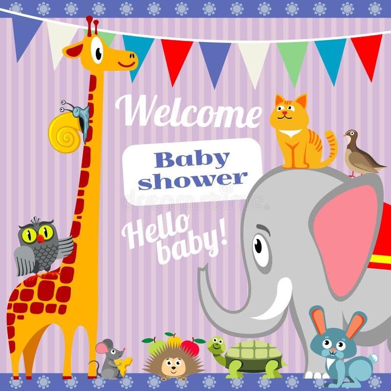 婴儿送礼会与逗人喜爱的动物的邀请卡片 边界月桂树离开橡木丝带模板向量 向量例证