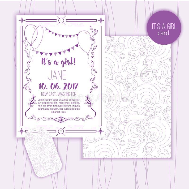 婴儿送礼会典雅的卡片 救球的理想日期,母亲节,情人节,生日贺卡,与线性的邀请 库存例证