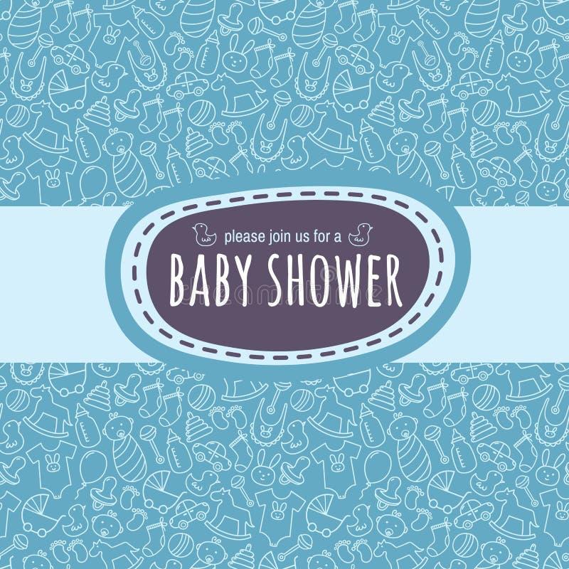 婴儿送礼会卡片或新出生的象册盖子模板 向量例证