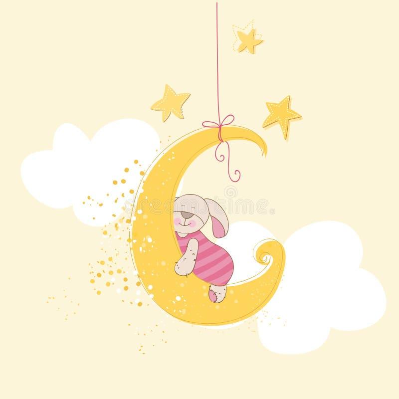 婴儿送礼会卡片-睡觉婴孩兔宝宝 库存例证