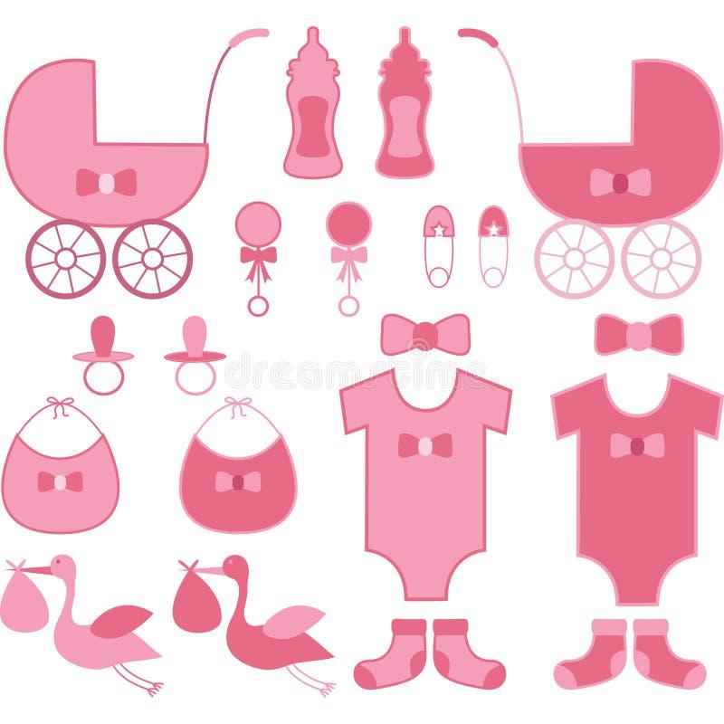 婴儿送礼会女孩元素 婴孩公告 库存例证