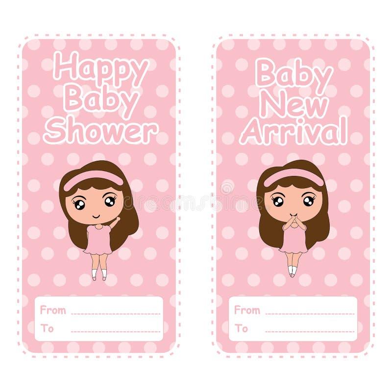 婴儿送礼会横幅与逗人喜爱的女孩桃红色的传染媒介动画片在圆点背景适用于婴儿送礼会明信片 向量例证