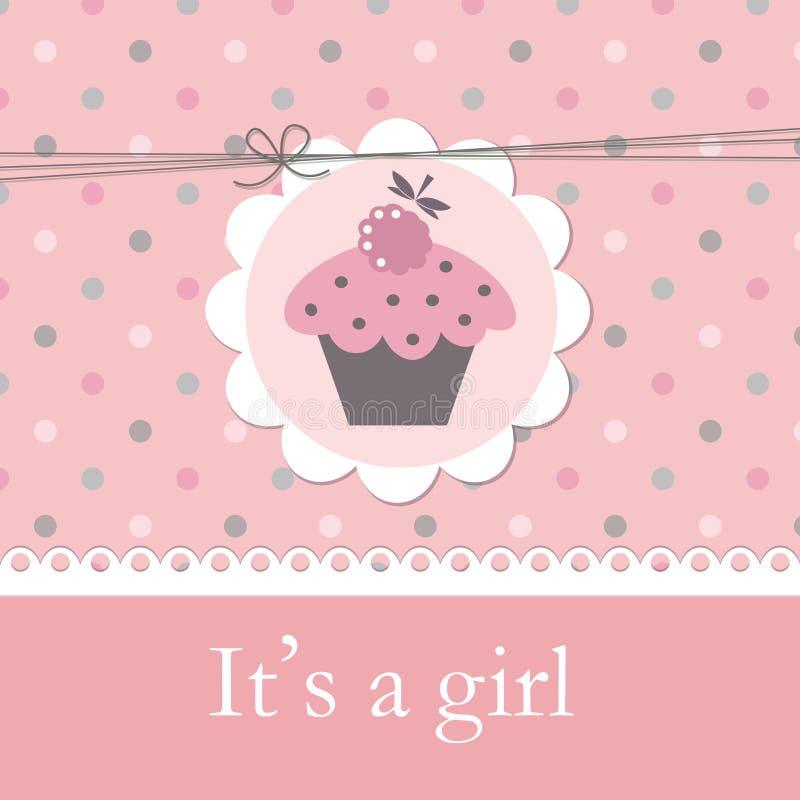 婴儿送礼会用杯形蛋糕 向量例证