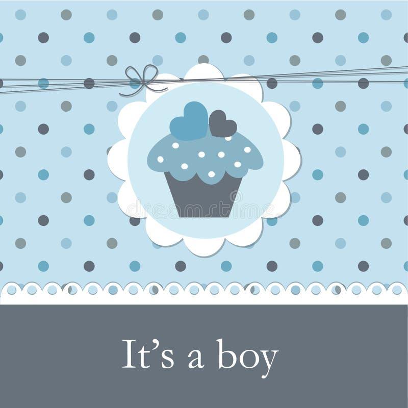 婴儿送礼会用杯形蛋糕 库存例证