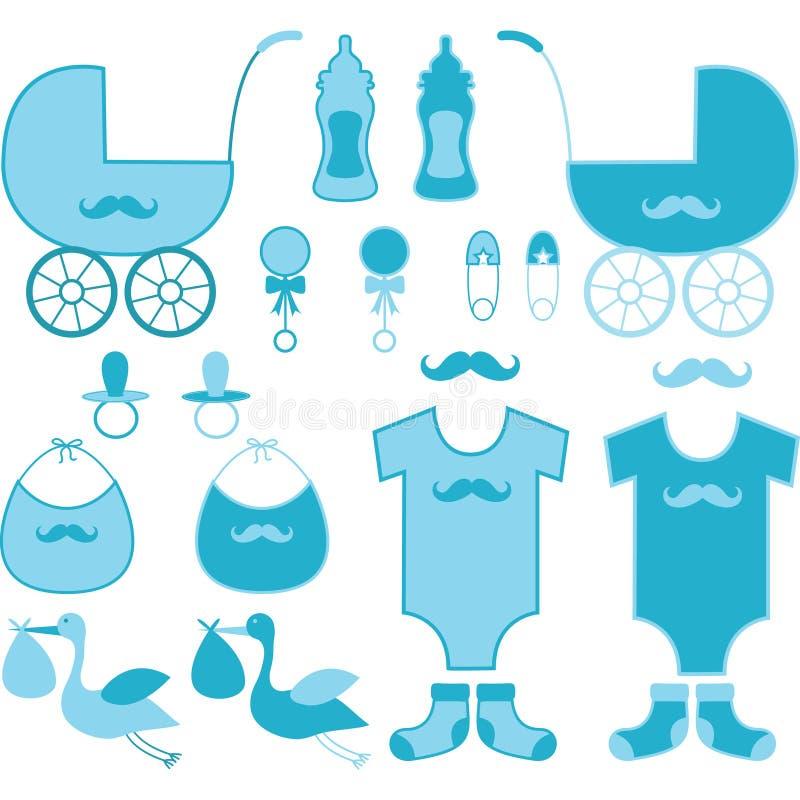 婴儿送礼会男孩元素 婴孩公告 向量例证