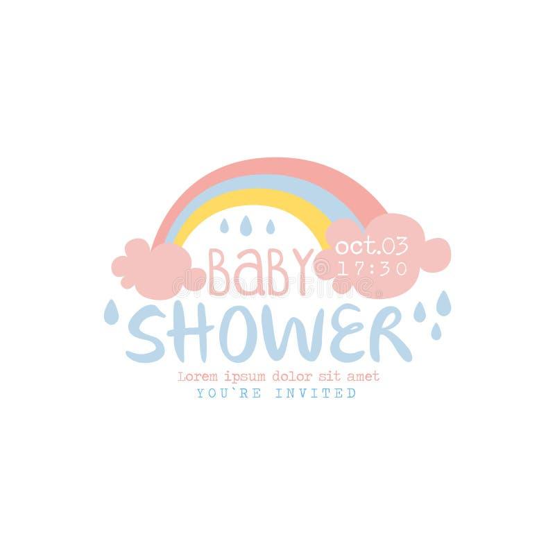 婴儿送礼会邀请与彩虹的设计模板 皇族释放例证