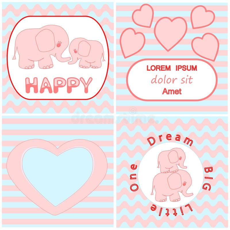 婴儿送礼会邀请卡集包括动画片桃红色婴孩大象卡片、心脏和波浪条纹背景卡片 皇族释放例证