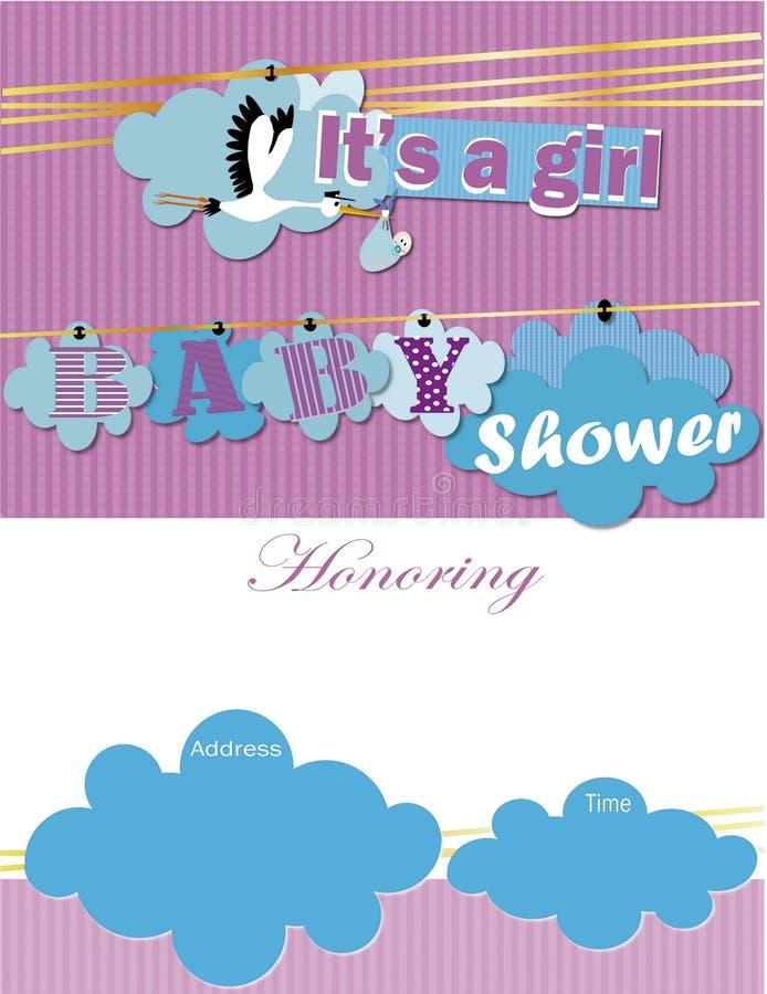 婴儿送礼会邀请它是女孩 免版税库存照片