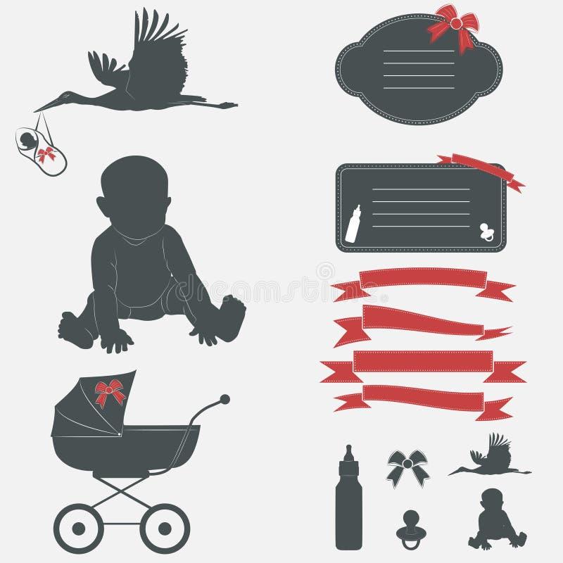 婴儿送礼会集合 剪影设计元素 皇族释放例证
