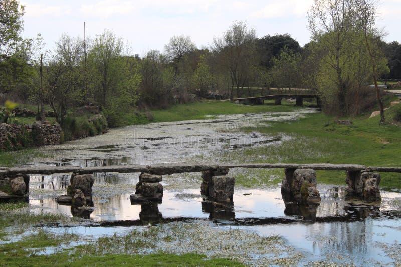 允许我们通过河非常老的美丽和老石桥梁 免版税库存照片