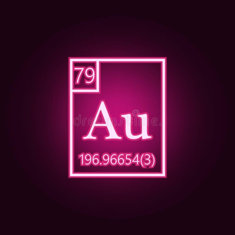 元素周期表- aurum霓虹象 Sciense集合的元素 r 皇族释放例证