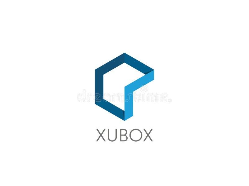 元素的摘要 几何六角对象商标模板 立方体箱子形状象公司业务的, apps, dat标志设计 皇族释放例证