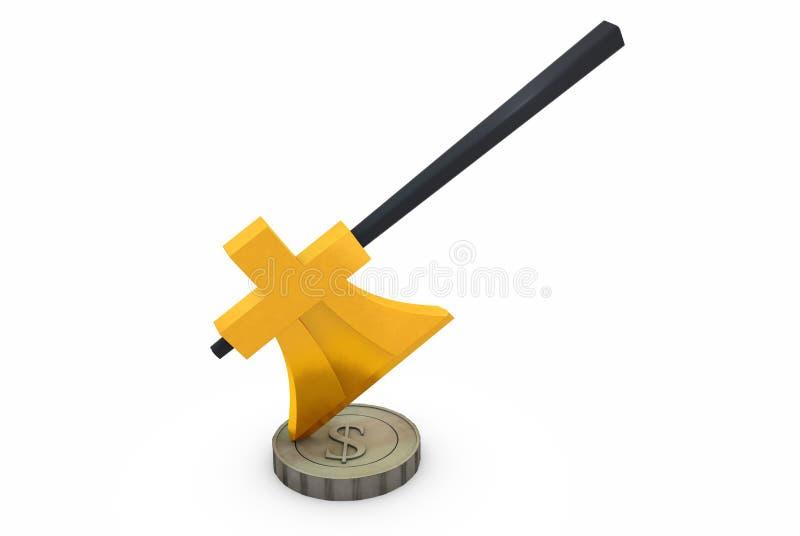 元金黄轴自毁美元硬币 免版税库存图片