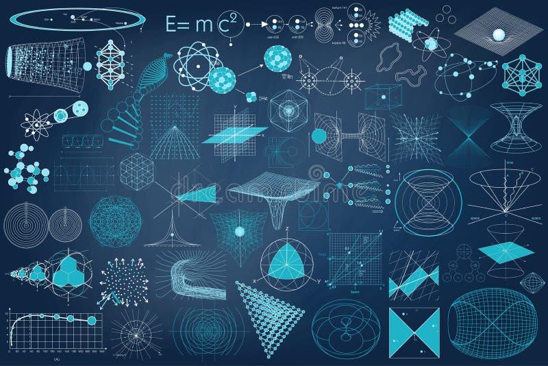元素、物理标志和计划的大收藏  库存例证