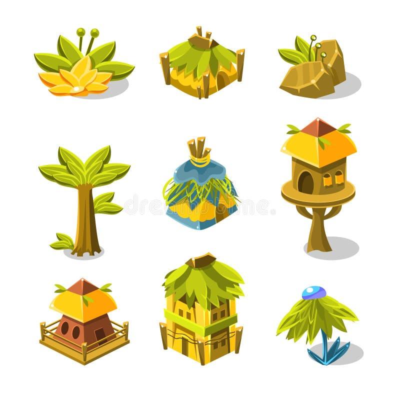 元素的电子游戏印地安村庄设计收藏 向量例证