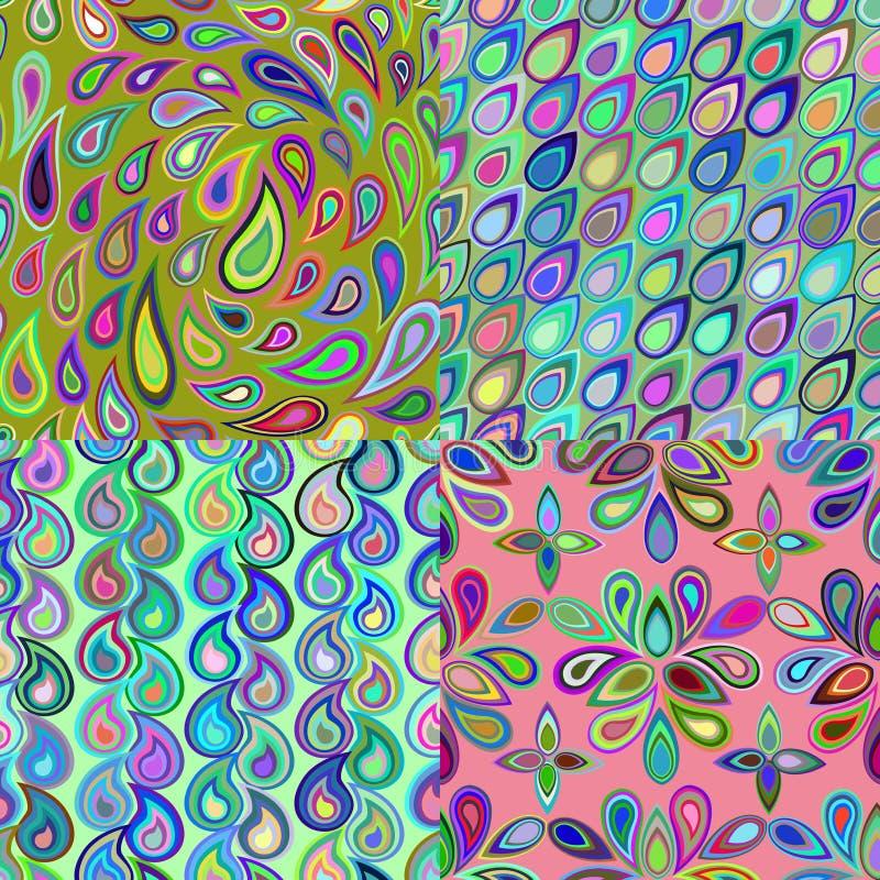 从元素teardro创造的抽象五颜六色的无缝的样式 库存例证