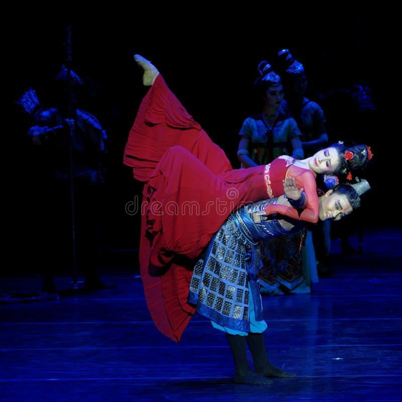 兄弟和姐妹这四行动`被阻碍的出口结关` -史诗舞蹈戏曲`丝绸公主` 免版税图库摄影
