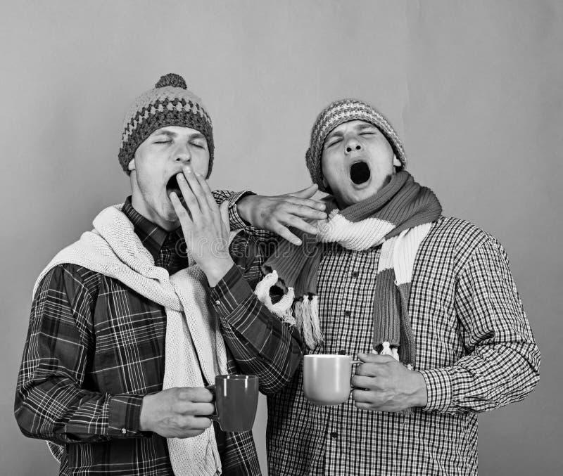 兄弟姐妹喝热巧克力和哈欠 与疲乏的面孔的孪生 库存图片