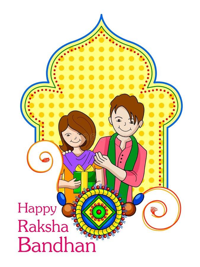 兄弟姐妹在Raksha Bandhan 向量例证
