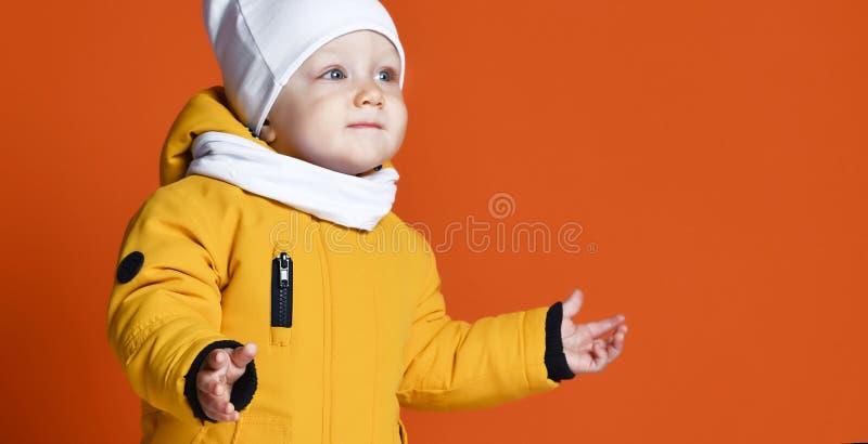 兄弟子项给愉快的一个姐妹微笑的二冬天穿衣 在下来夹克的孩子 方式子项 免版税库存图片