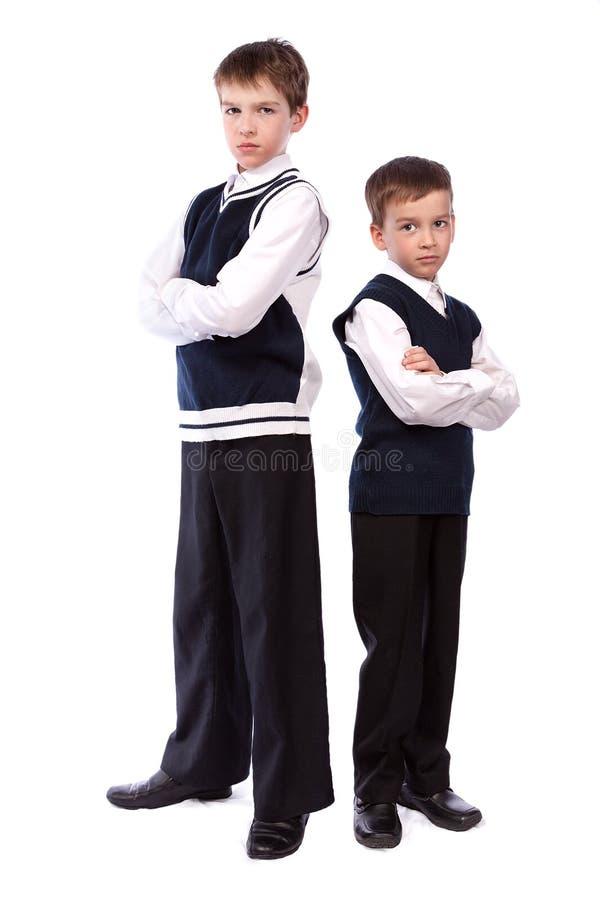 兄弟纵向学校二统一 免版税图库摄影