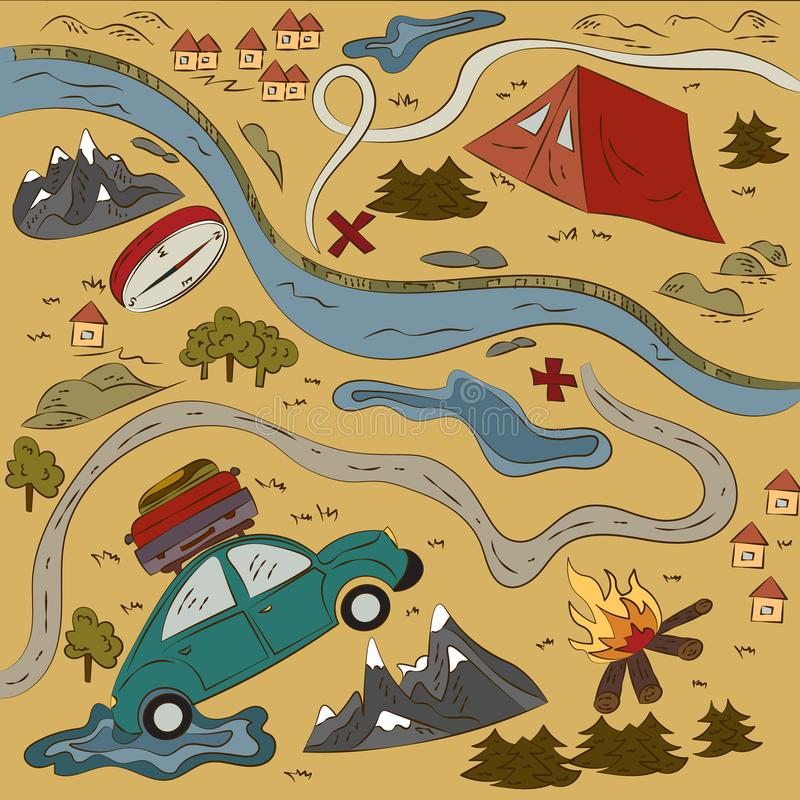 充分世界冒险 休息并且旅行,新的发现和冒险 向量例证